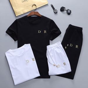 21ss أزياء الرجال مصممين رياضية مجموعة تشغيل رجل تراكسويت إلكتروني سليم الملابس المسار كيت عارضة الرياضة قصيرة الأكمام البدلة M-XXL