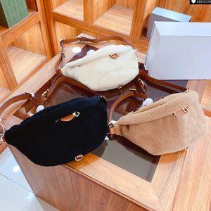 2021 Luxury Furry Waist Bags Fashion Women Crossbody Lamb Wool Waist Bag Autumn Winter Unisex Purses Medium Size High Quality Men & Women
