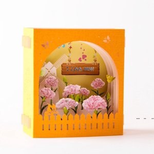Mother's Day Greeting Card 3D Pop-Up Hollow Paper Carving Carnation Flowers Mother's Day Teacher's Day Greeting Cards FWD5201