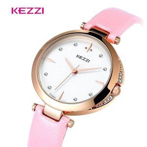 Наручные часы kezzi Женские часы Diamond High Quality Дамы для женщин Мода Стиль Кожаный Ремешок Кварцевые наручные часы Relogio