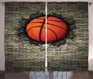 Curtain & Drapes Sports Curtains Basketball Embedded In A Brick Wall Power Training Destruction Concept Art Window For Living Room