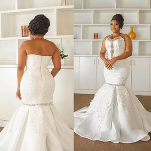 White Full Lace Plus Size Crystal Mermaid Vestidos De Noiva Wedding Dresses Sweetheart Lace Appliques Satin Africal Bridal Gowns