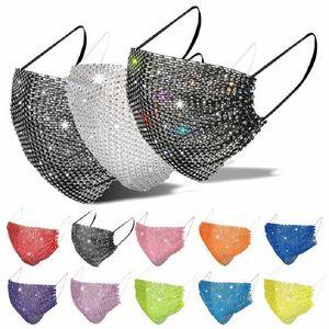 Маска для лица Женщины 2021 бриллиант горный хрусталь кампус маски женские Дезигер Летние дышащие брюки Bling Faceemask Бесплатная доставка