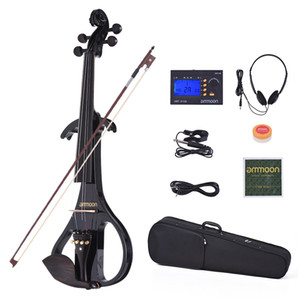 ammoon VE-209 Full Size 4 4 Silent Electric Violin Solid Wood Maple with Bow Hard Case Tuner Headphone Rosin Audio Cable Strings