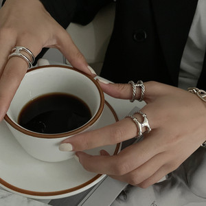 925 pure sier Thai sier twist knitting ring women's simple H letter I-shaped ring open index finger ring niche