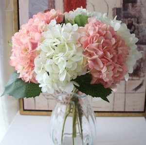 47 cm 시뮬레이션 인공 수국 헤드 거짓 단일 현실적인 수국 웨딩 수국 가족 파티 장식 꽃 HWD4921
