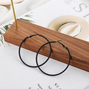 Large Hoop Black Earings for Women Geometric Round Ring Earrings Trendy 2021 Fashion Ear Rings Stainless