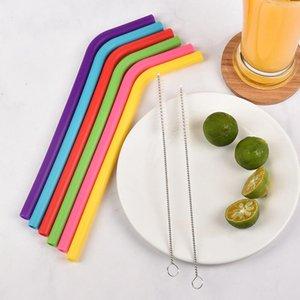 6 unids + 2 Cepbrush / Set 23cm Color Candy Colors Silicone Paja Reutilizable Doblado Bent Straw Straw Home Bar Accesorio Accesorio Tubo de silicona DHF5274