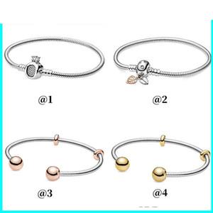 2019 Sonbahar Yeni Bildirim Parlatıcı Yaprak Hoop Gül Tiara Wishbone Kalp Taç Ayar Gümüş Bayanlar Charm Bilezik Takı 48 R2