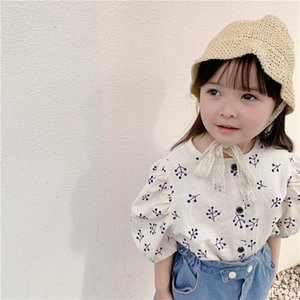 Japanese style girls puff sleeve floral shirts linen loose single-breasted printing shirt clothes 210306