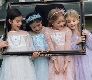 Sweet Girl Sequins Gauze Princess Dress 2021 Spring Children Puff Sleeve tulle tutu Dress Kids bling Evening Dress A5829