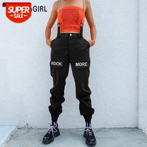 HEYounGIRL Hip Hop Patchwork Chains Pants Women Elastic High Waist Black Track Pants Capris Embroidery Letter Trousers Female #vj6E