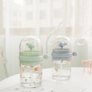Kids Beverage Sippy Cup Straw Funny Summer Bottles Creative With Plastic Portable Children Cute Tumbler Cup Student Water Drinking 18 R2