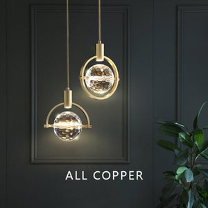 Light  bedroom bedside crystal small pendant light restaurant bar personality lamp Polished Copper Wedge Plated