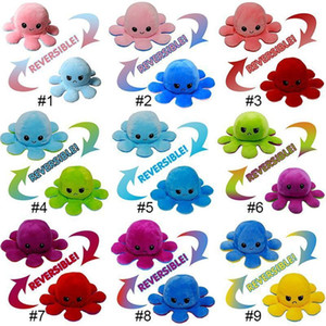 Hot Sale Reversible Flip Octopus Plush Toys 10*20cm Stuffed Animals Cute Flipped Octopus Doll Double-Sided Expression Octopus Wholesale