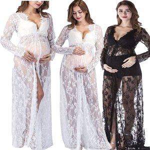 Robes de maternité Photographie Prise de vue en photo Blanc Noir Dentelle Fantaisie Robe enceinte Maxi Housse de grossesse pour la séance photo M-4XL 424 Y2