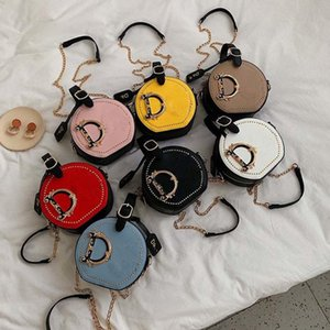 Fashion Letter Shoulder Bags Women Girls Handbag Rivet Designer Crossbody Messager Bag PU Leather Round Totes With Chain Satchel Outdoor Phone Pouch Purse 7 Colors