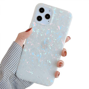Crystal Phone Case for iPhone 12 11 Pro Mini Glitter Pearly-Lustre Shell Pattern Phone Case for Women Shiny White TPU Phone Cover