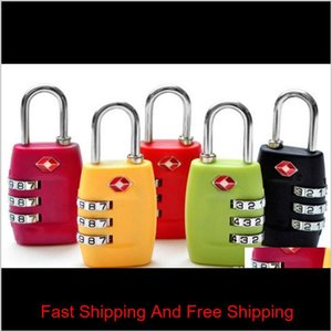 Tsa Security Code Luggage Locks 3 Digit Combination Steel Keyed Padlocks Approved Travel Lock For Suitcases Baggage 7Colors Gpfqq 8Larw