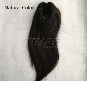 VMAE Brazilian Peruvian Straight 120g Natural Color #1B #4 #6 Horsetail Clip in Drawstring Ponytails Virgin Human Hair Extension