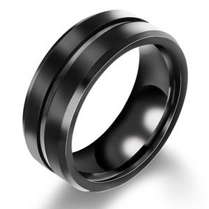 man ring male tyrants jewelry 8MM titanium steel groove ring
