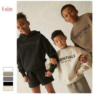 6 цветов дети мальчиков девочек G od Ess * Essentials Толстовки толстовки толстовки 21/5 Детская версия плюс бархатная рубашка теплый свободный круглый воротник