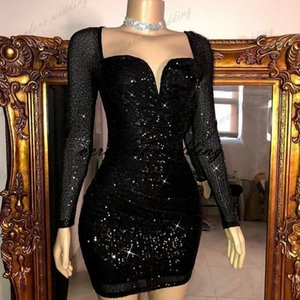 Black Sequins Short Prom Dress Mermaid Long Sleeves Cocktail Party Gowns Country Garden Party Gowns African Evening Dress Wear