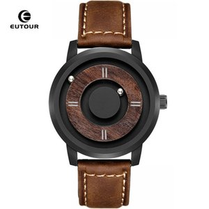 Eutour Drive Magnetic Drive Mens Relojes Top Marca Luxury Quartz Watch Mujeres Hombre Madera Acero Inoxidable Unisex Wristwatches 210303