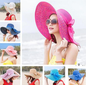New Foldable Lady beach straw hats Sun Hat Ladies Wide Brim Straw Hats Outdoor Foldable Beach Panama Hats Church Hat EWA3835