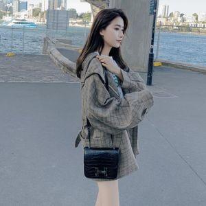Women's Trench Coats Coat For Women Spring Autumn Loose Casual Plaid Hooded Jacket Female Korean Plus Size Overcoat Cloak Windbreaker