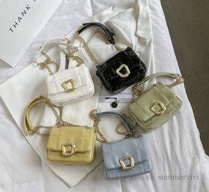 Lady style kids handbag girls metals buckle chain single shoulder bags children soft PU leather crossbody women mini purse Q1956