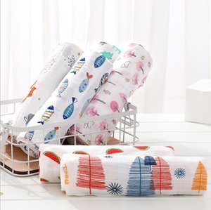 Baby Bath Towel Two Layers Muslin Swaddle Blanket Cotton Gauze Swaddle Wrap Newborn Photography Accessories 37 Designs BT6461