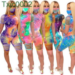 Designer Frauen Shorts Outfits Neue Krawatte Farbstoff Trainingsanzug Hemd Top Loch Hosen 2 Stück Set Damen Sweatsuits Mode Kleidung DHL 2021