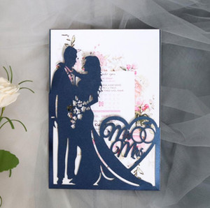 Hot Laser Cut Bride And Groom Wedding Invitations Card Love Heart Greeting Valentine's Day Party Favor Decoration SN2434
