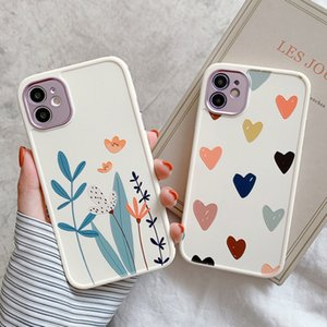 For iPhone 12 Pro Case Heart Flowers Phone Case For iPhone 12 Mini 11 Pro Max 8 7 Plus X XS Max XR Marble Soft TPU Bumper Cover