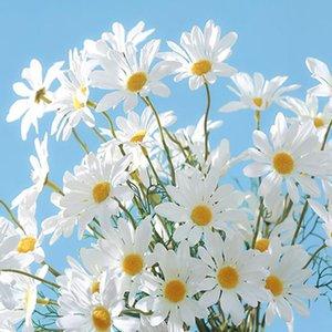 Декоративные цветы венки 53 см 5 головы искусственная ромашка цветок шелк поддельных стен стоять маленький для свадьбы холдинг домашний декор