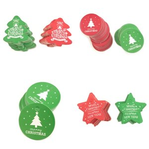100PCS Christmas Tags Paper Red Green Gift Tag Christmas Party Hanging Tags Price Label Hang Tag Message Cards DIY Gift 923 B3