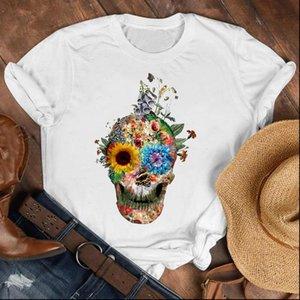 여성 아가씨 두개골 얼굴 공포 짧은 소매 90s 패션 셔츠 옷 여자 탑 여성 인쇄 T 셔츠 티 그래픽 티셔츠