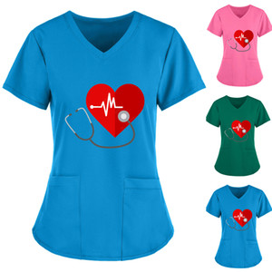 Scrubs Women Workwear Short Sleeve Cleavage on Top of Uniform Work Impression Pocket Tops Nurse Aaccessories Q5 7xmy