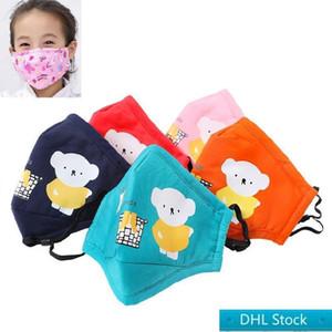 DHL Free Kids Mask Stock With valve Children Cartoon KN90 Mask KN90 Face Masks PM2.5 Anti Haze Protective Mask
