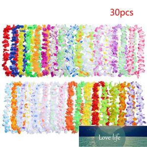 Flower 30pcs Hawaiian Leis Necklace Garland Tropical Artificial Hawaii Silk Wreath Party Supplies Beach Fun