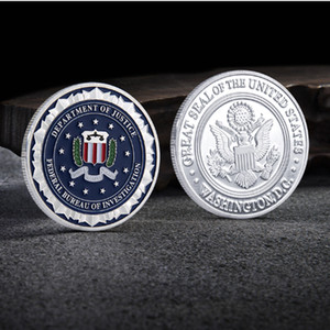 Great Seal Of USA Department Of Justice Federal Bureau Of Investigation Silver Plated Souvenir Coin Replica Coin Collection