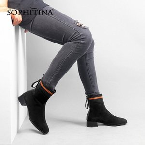 SOPHITIN New Womens Boots High Quality Kid Suede Fashion Mixed Color Comfortable Square Heel Shoes New Handmade Boots C525 y4J1#
