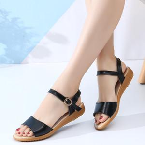 New Fashion Flat Women Leather Shoe Summer Ladies Beach Sandals Wedges Plus Size Shoes Woman Flipflops Slides Sandalias Mujer Q0224