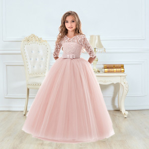 Girls Ceremony Dress for Wedding and Party Gown Exquisite Communion Luxury Princess Dress Elegant Lace Girls New Year Costume 210226
