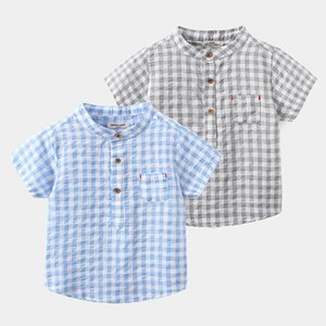 TX Korean Qaulity New INS Summer Kids Boys Plaid Shirts Front Pockets Soft Cotton Gentlemen Boys Tops