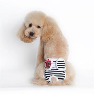 Rayas para perros Pájaro Pájaro Pañal de algodón Lavable Lavable Reutilizable Pantalones físicos ajustables Sanguidos Menstruación Sangre Ropa interior Pet Dogu7i7