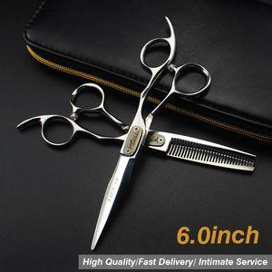 """6.0 \ """"Venta Silver japonés Tijeras para el cabello Tijeras de peluquería baratas Tijeras Cizallas Peluquería Afeitadora Modelo de corte de pelo Tamaño del número"""