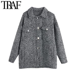 TRAF Women Fashion With Pockets Oversized Tweed Jacket Coat Vintage Long Sleeve Button-up Female Outerwear Chic Tops