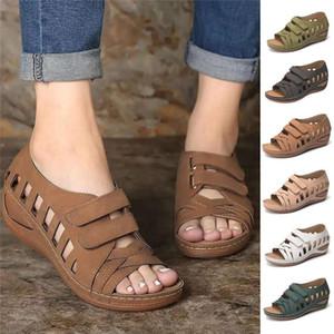 2021 New Women Sandals Large Size Women Cross Belt Breathable Pure Color Sandals Ankle-Wrap Sandal Size 35-43
